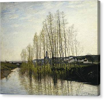 River Landscape, Champagne Canvas Print by Carl Fredrik Hill