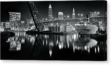 River Lights In Black And White Canvas Print by Frozen in Time Fine Art Photography