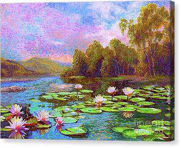 Rural Landscapes Canvas Print - The Wonder Of Water Lilies by Jane Small