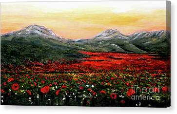 River Of Poppies Canvas Print by Judy Kirouac