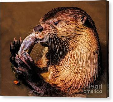 Canvas Print - River Otter With His Catch Of The Day by Paulette Thomas