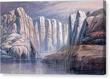 White River Scene Canvas Print - River Pass Between Barren Rock Cliffs by Edward Lear