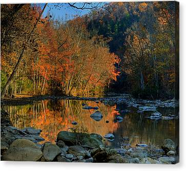 River Reflection Buffalo National River At Ponca Canvas Print by Michael Dougherty