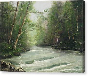 Canvas Print featuring the painting River Retreat by Rebecca Kimbel