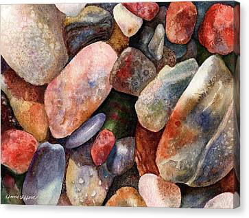 Canvas Print featuring the painting River Rocks by Anne Gifford