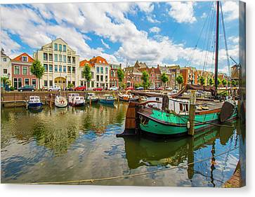 River Scene In Rotterdam Canvas Print