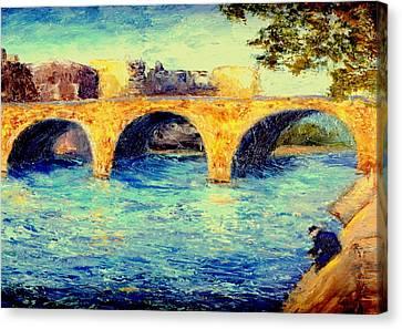 River Seine Bridge Canvas Print