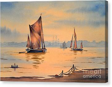 River Thames At Greenwich London Canvas Print by Bill Holkham