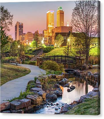 River To The Tulsa Oklahoma Skyline 1x1 Canvas Print by Gregory Ballos