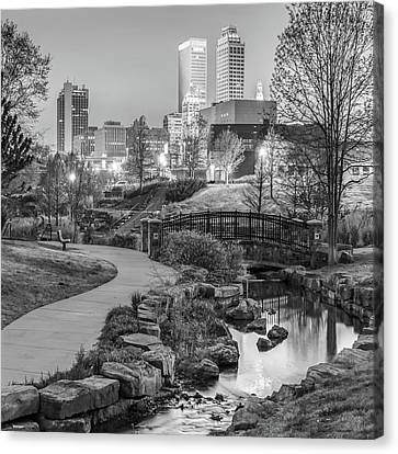 River To The Tulsa Oklahoma Skyline Black And White 1x1 Canvas Print by Gregory Ballos