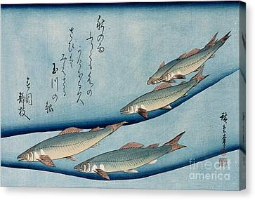 River Trout Canvas Print by Hiroshige
