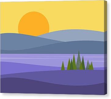 River View Canvas Print - River Valley Sunrise - Sunrise by Val Arie