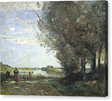 River View Canvas Print by Jean-Baptiste-Camille Corot