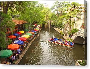 River Walk In San Antonio, Texas Canvas Print by Art Spectrum