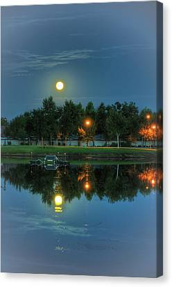 River Walk Park Full Moon Reflection 2 Canvas Print