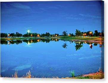 River Walk Park Full Moon Reflection 3 Canvas Print