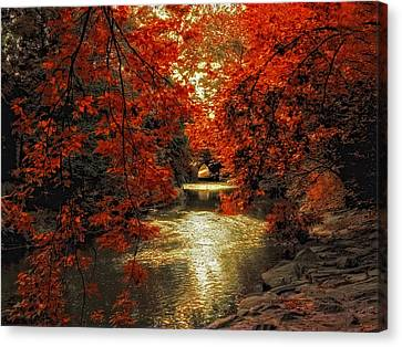 Riverbank Red Canvas Print