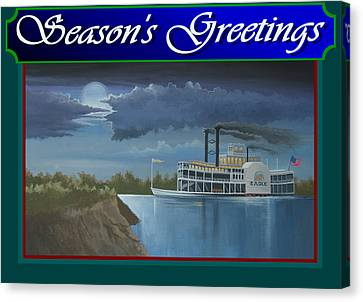 Riverboat Season's Greetings Canvas Print by Stuart Swartz