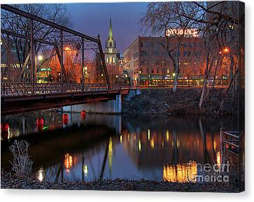 Mississippi River Canvas Print - Riverplace Minneapolis Little Europe by Wayne Moran