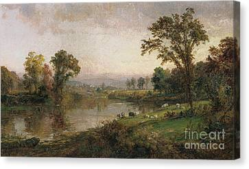 Lamb Canvas Print - Riverscape In Early Autumn by Jasper Francis Cropsey