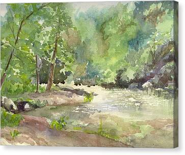 Canvas Print featuring the painting Riverside Park by Yolanda Koh