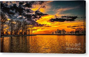 Canvas Print featuring the photograph Riverview Beach Park Sunset by Nick Zelinsky