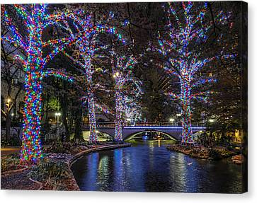 Canvas Print featuring the photograph Riverwalk Christmas by Steven Sparks