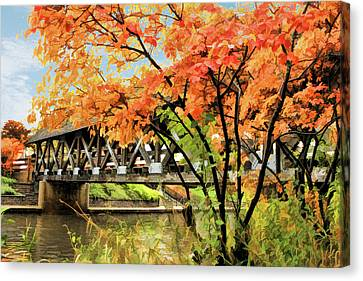 Canvas Print featuring the painting Riverwalk Covered Bridge by Christopher Arndt