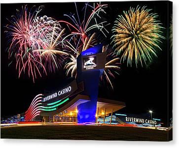 Riverwind Fireworks Canvas Print by Ricky Barnard