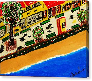 Riviera Beach Cafe Canvas Print by Adolfo hector Penas alvarado