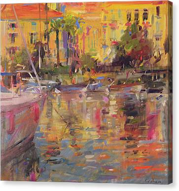 Riviera Moorings  Canvas Print by Peter Graham