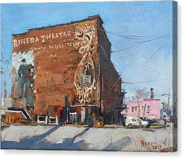 Riviera Theatre Historic Place In North Tonawanda Canvas Print by Ylli Haruni