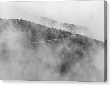 Road In Fog - Blue Ridge Parkway Canvas Print