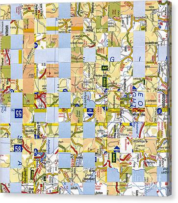 Canvas Print featuring the mixed media Road Map by Jan Bickerton