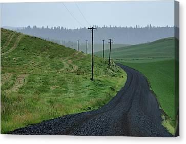 Road - Rainy Day - Palouse Canvas Print by Nikolyn McDonald