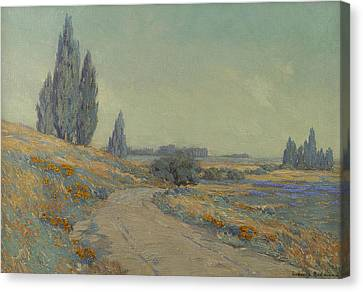 Road Through A Field Of Wildflowers Canvas Print by Granville Redmond