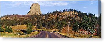 Road To Devils Tower Crossing Belle Fourche River Canvas Print by Jeremy Woodhouse
