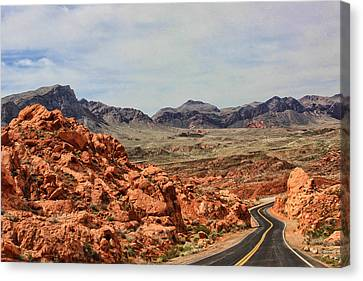 Canvas Print featuring the photograph Road To Fire by Tammy Espino