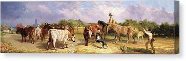 Road To Gloucester Fair Canvas Print by Briton Riviere