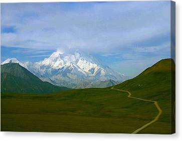 Canvas Print featuring the photograph Road To Mt Mckinley by Jack G  Brauer