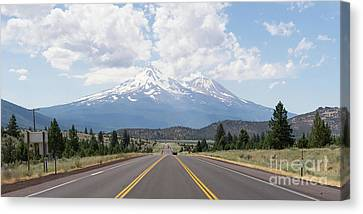 Canvas Print featuring the photograph Road To Mt Shasta California Dsc5048 Panorama by Wingsdomain Art and Photography