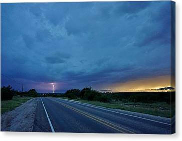 Canvas Print featuring the photograph Lightning Over Sonora by Ed Sweeney