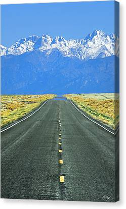 Road To The Sangre De Cristo Mountains Canvas Print by Aaron Spong