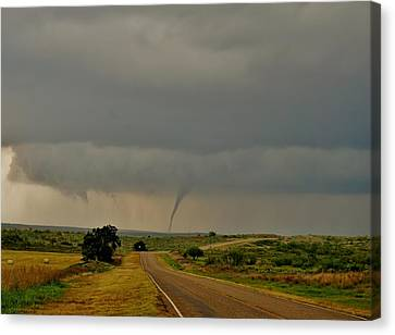 Canvas Print featuring the photograph Road To The Twister by Ed Sweeney