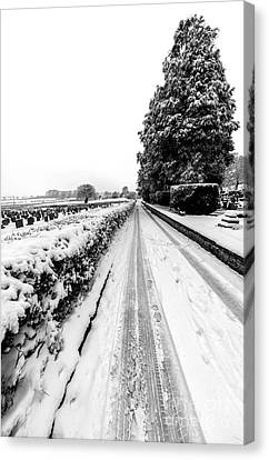 Road To Winter Canvas Print by Adrian Evans