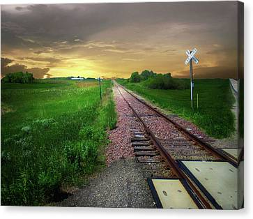 Road Track Crossing Canvas Print