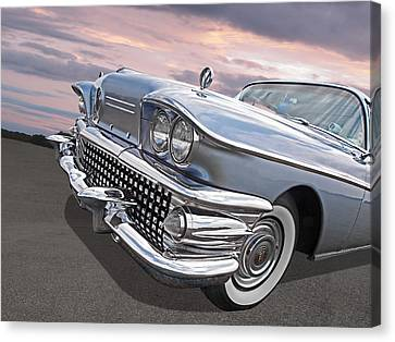 Fifties Automobile Canvas Print - Roadmaster At Sunset by Gill Billington
