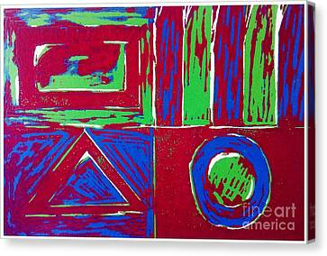 Lino Canvas Print - Roadside And Road Signs Abstract by Joan-Violet Stretch