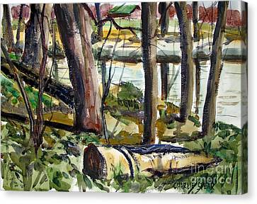 Canvas Print featuring the painting Roadside Park Along The Wabash River by Charlie Spear