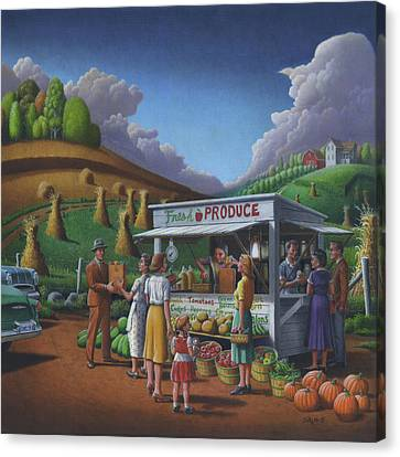 Roadside Produce Stand - Fresh Produce - Vegetables - Appalachian Vegetable Stand - Square Format Canvas Print by Walt Curlee